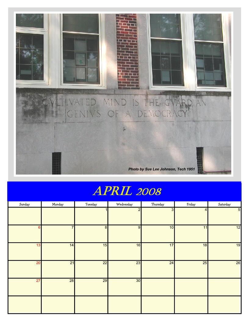 2008 Calendar Tech High School